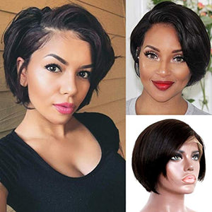 Liwihas 13x4 Lace front Wigs Human Hair Pixie Cut Wigs Short Bob Wigs for Black Women 150% Density Brazilian Virgin Human Hair with Pre Plucked Haircuts Natural Hairline (8inch, Natural Black)