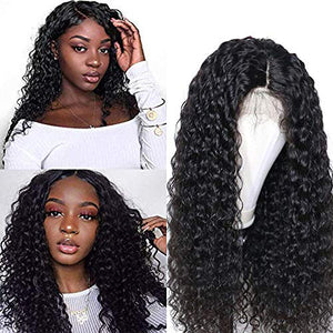 Larhali Brazilian 13x6 Deep Wave Lace Front Wigs Human Hair Pre Plucked Lace Front Deep Curly Wigs with Baby Hair Glueless Lace Wigs for Black Women 150% Density Unprocessed Virgin Human Hair(16inch)