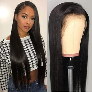 DACHIC 13x4 Lace Front Human Hair Wigs for Women Brazilian Straight Hair Wigs with Baby Hair Pre Plucked Natural Hairline (18 Inch)