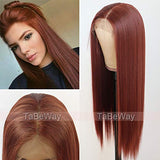 TaBeWay 13x6 Synthetic Lace Front Wig Long Straight #13 Color Glueless Heat Resistant Free Part Synthetic Replacement Hair Wig For Women