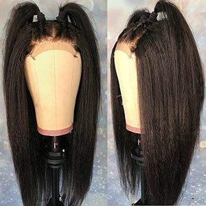 "Andria Hair Lace Front Wigs Yaki Straight Hair Wigs Synthetic Heat Resistant Long Hair Wigs with Baby Hair for Black Women (Black Color Yaki Hair 18"")"