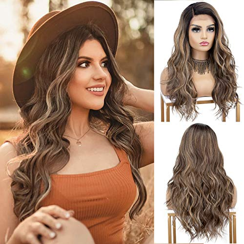 K'ryssma Brown Ombre Lace Front Wig with Dark Roots Long Brown Wavy Wig with Highlights L Part Deep Parting Brown Synthetic Wig 18 inches