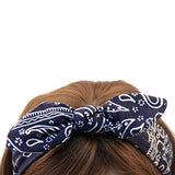 Carede 6 Pack Elastic Paisley Bandana Knot Headbands Rabbit Ear Bow Headband Turban Headwraps Hair Band for Women Girls