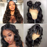 Glueless Body Wave Human Hair Lace Front Wig with Baby Hair for Women Pre Plucked Hairline 150% Density 13x4 Brazilian Body Wave Lace Frontal Wig Natural Color (16 inch)