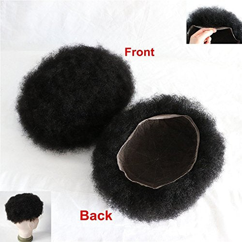 Lumeng Men's Toupee for Black Men Afro Toupee African American Wigs Hair Unit Black Man 8x10'' African Curly Afro Mens man weave #1 Jet Black Invisible Lace System 120% Density 100% Human Hair