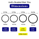 AwEx Strong Black Hair Ties,50 PCS,4 mm Regular Loop Hair Bands,No Metal Hair Elastics,No Pull Ponytail Holder