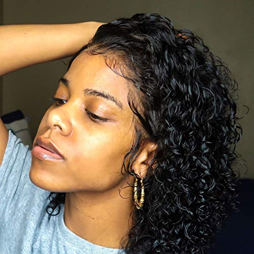Venice Hair 13x6 Lace Front Human Hair Wigs for Black Women Virgin Curly Human Hair Wigs Short Lace Frontal Wig Pre Plucked with Baby Hair (8inch, 130% density)