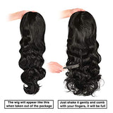 Long Black Wigs for Women 24 Inch Wavy Synthetic Wig Natural Looking Right Side Parting NONE Lace Heat Resistant (#1B)