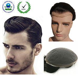 "Human Hair Toupee for Men, N.L.W. European Human Hair Pieces for Men with 10"" x 8"" Super Thin French Lace,#1B Off Black"