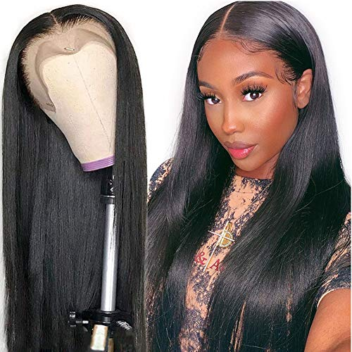 Straight Lace Front Wigs Human Hair 14 Inch 150% Density Brazilian Virgin Hair Straight Human Hair Wigs for Women (14inch, Natural Color)