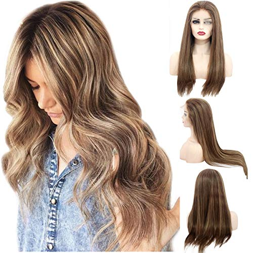 Balayage Pre Plucked Human Hair Lace Front Wig Medium Brown with Strawberry Blonde Highlights Ombre Human Hair Wigs Free Part 150% Density Brazilian Remy Straight Glueless Lace Wig for Women 14 Inch