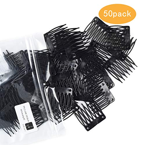 combs plastic clips convenient for hair full lace wigs cap accessories styling tools (black)