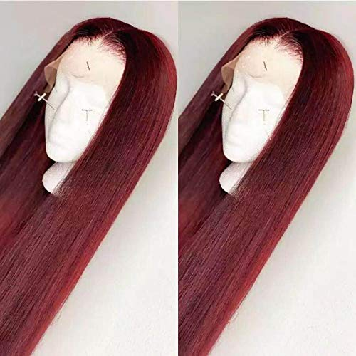 13x4 Straight 99J Colored Lace Front Wigs Human Hair Middle Part For Women Burgundy Brazilian 150% density Lace Front Human Hair Wigs (18inch)