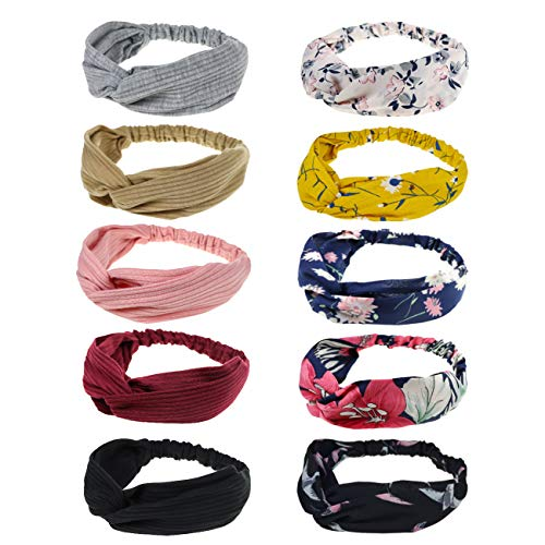 DRESHOW 10 Pack Boho Headbands for Women Girls Criss Cross Elastic Hair Band Twisted Head Wrap