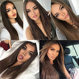 "Missyvan 13X6 Lace Front Wig Straight Hair Brown Color 22"" Long Wigs Glueless Heat Resistant Fiber Hair Synthetic Lace Front Wigs for Fashion Women"