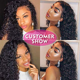 150% Density Lace Front Human Hair Wigs For Black Women 9A Brazilian Deep Wave Wig Pre plucked Human Hair Wigs with Baby Hair Bleached Knots(18'')
