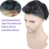 "Rossy&Nancy Toupee for Men Hair Replacement System European Human Hairpieces with 10""x8"" Super Thin French Lace #1B Mixed 20% Gray Hair"