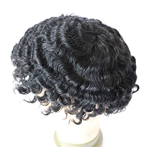 Lumeng Hair Male Afro Toupee12mm 360 Weave Curly Man Hair Unit 1B Off Black Human Hair Mens Toupee Afro Curly Short Hair Men's Wig 8x10inch Men's Hair Systems Hairpiece 8x10inch
