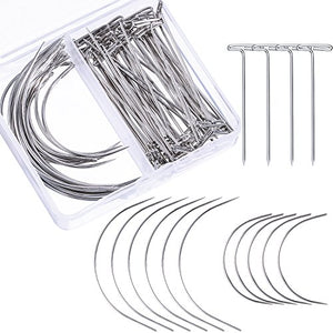 Bememo 70 Pieces Wig Making Pins Needles Set, Wig T Pins and C Curved Needles Hair Weave Needles for Wig Making, Blocking Knitting, Modelling and Crafts