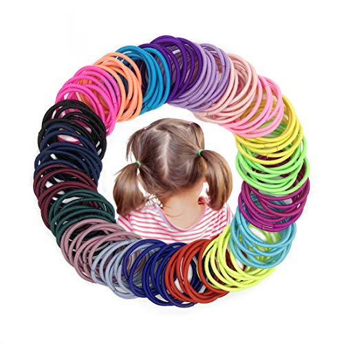 Joyeah 200 Pieces Multicolor Baby Girls Hair Ties No Crease Hair Bands Ponytail Holder for Baby Girls Infants Toddlers (Diameter 2.5 cm)