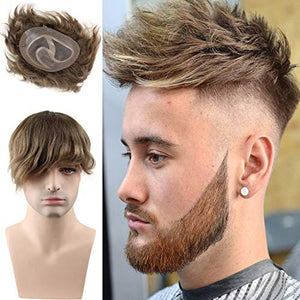 "Rossy&Nancy Toupee for men Hair pieces 100% European virgin human hair replacement system for men 10""x8"" human hair toupee men hair piece #18 Light Brown Color"