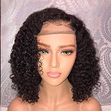 Women Kinky Curly Black Wig Lace Front Ship from US Wavy Bob Hairpiece Natural Full Wig Breathable Wig Cup for Costume Party Cosplay Anime (Black)