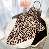 Leopard Print Hair Scarfs Cheetah Bandana Square Animal Pattern Neck Scarves for Women