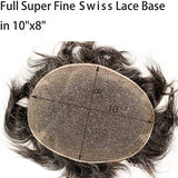 Rossy&Nancy Swiss Full Lace Men's Toupee 1B Black Color Real Human Hair Mixed 20% Grey Synthetic Hair Replacement for Men Hairpiece