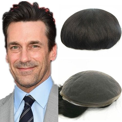N.L.W. European virgin human hair toupee for men with SOFT THIN Super Swiss lace, 10