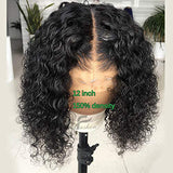 Fushen Hair Curly Short Bob Lace Front Wig Brazilian Virgin Hair with Baby Hair Pre Plucked Remy Curly Bob Lace Wig for Black Women (8 inches, 13x6 lace front wig)