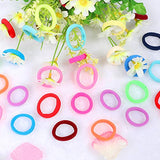 100 PCS Seamless Cotton  Hair Ties in Bulk Mixed Colors Ponytail Holder, No Crease Soft Elastic Hair Bands for Baby Toddlers Girls Kids, 1 Inch in Diameter