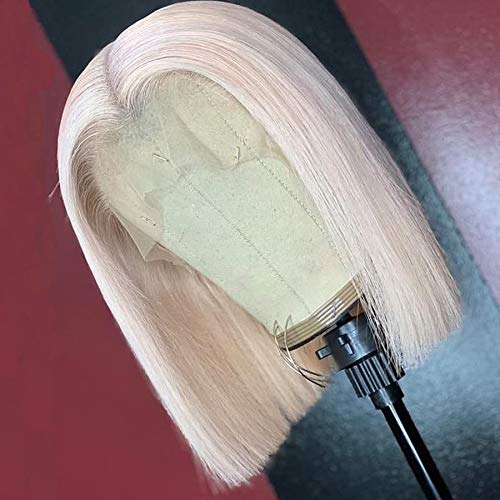 Mixed White Blonde Bob Synthetic Lace Front Wig For Women High Temperature Fiber Hair 150 Density