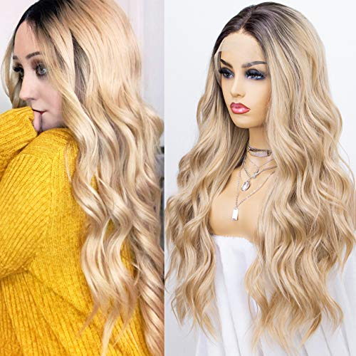 K'ryssma Blonde Lace Front Wig for Women Synthetic Wigs Long Wavy Ombre Wig 22 inches