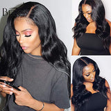 BEEOS 9A 360 Lace Frontal Wigs Human Hair with Baby Hair,150% Density Pre Plucked and Bleached Knots Body Wave Free Part Brazilian Virgin Hair Wigs for Black Women (20 Inch)