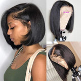 BLY Short Straight Bob Wigs Brazilian Virgin Human Hair Lace Front Wigs Human Hair (10inch) 13x4 Lace Part 150% Density Pre Plucked with Baby Hair