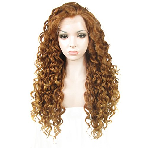 Ebingoo Brown Lace Front Wigs for Women Long Curly Synthetic Lace Front Wig with Widow Peak Caramel Hair Wig with Highlighted Tips