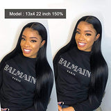 NUOF Hair 13x4 Lace Front Wigs Human Hair Straight Brazilian Lace Frontal Wig Pre Plucked With Bleached Knots For Black Woman 150% Density Natural Color HD Invisible Lace Front (18Inch)