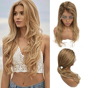 "Blonde Human Hair Balayage Lace Front Wig Natural Wave Pre Plucked with Baby Hair 16"" 150% Density Glueless Brazilian Hair Bleached Knots Highlighted #4 Fading to #27 and #613 Layered for White Women"
