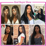 360 Lace Front Wig Straight Human Hair Brazilian Human Hair(18inch Nature Color) for Black Women100% Unprocessed Venelle 150% Density Natural Hairline wigs
