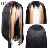UNice Hair 13x4 Highlight Straight Hair Lace Front Human Hair Wigs Free Part, Brazilian Remy Hair Pre Colored Ombre Lace Frontal Wig Pre Plucked with Baby Hair 150% Density (18'')