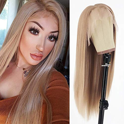 Swetcurly 13x6 Lace Front Wigs Blonde Hair Glueless Lace Wigs Long Natural Straight Wigs Heat Resistant Fiber Synthetic Lace Front Wigs For Black Women 103# 22 Inch
