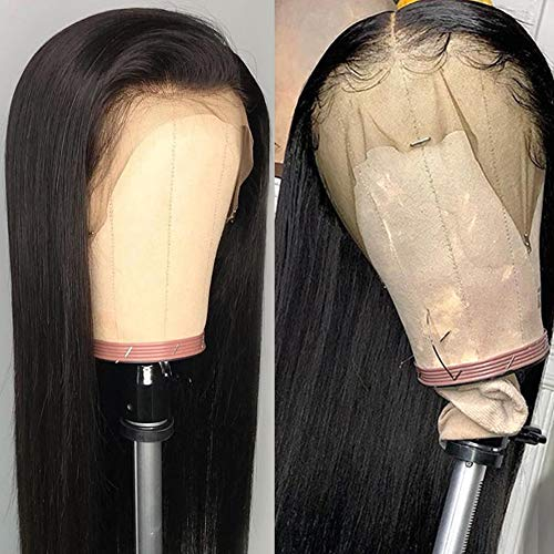 DÉBUT Human Hair Wigs for Black Women 9A Brazilian Virgin Remy Hair Straight Lace Front Wigs 13 × 4 Swiss Lace Frontal 150% Density with Baby Hair Natural Black (30 inches)