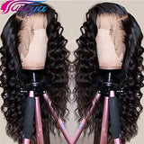 Fureya Glueless Lace Front Wigs Loose Wave with Baby Hair Heat Resistant Fiber Synthetic Long Wavy Wigs for Black Women 26 inch