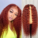 Full Lace Wig Orange Red Color Human Hair 13x6 Lace Front Hair 150% Density Curly Glueless Pre Plucked Hair Line With Baby Hair for Black Women (14 inch, 13x6 lace frontal wig)