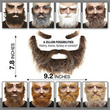 Mustaches Self Adhesive, Novelty, Realistic, Traper Fake Beard Fake Mustache and Fake Eyebrows, Brown with Gray Color