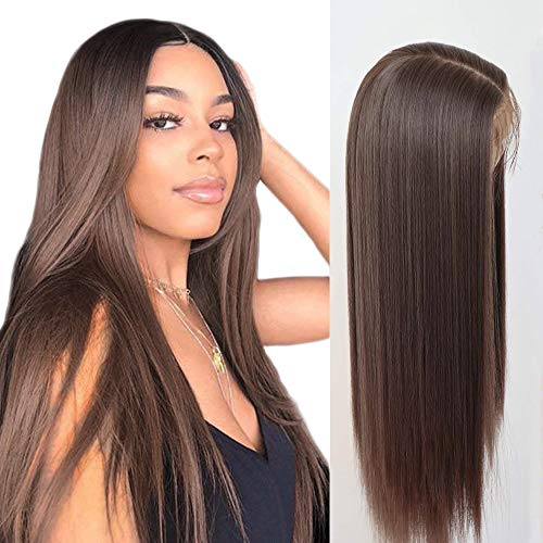 Lovigs Hair Glueless Lace Front Wigs Heat Resistant Fiber Synthetic Hair Real Natural Straight Wigs for Women - 100% Stylish Brown Wigs (Color 6# Brown 22 Inch)