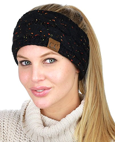 C.C Soft Stretch Winter Warm Cable Knit Fuzzy Lined Ear Warmer Headband, Confetti Black
