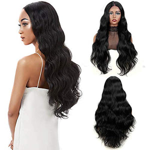QVR Natural Wave Lace Front Wig for Black Women 29inch Center Deep Part Lace Wig With Body Wave Heat Resistant Synthetic Hair Jet Black