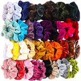 40 Pcs Hair Scrunchies Velvet Elastic Hair Bands Scrunchy Hair Ties Ropes Scrunchie for Women or Girls Hair Accessories - 40 Assorted Colors