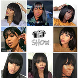 Short Bob Wigs Straight Brazilian None Lace Front Wigs With Bangs Virgin Human Hair Wigs 130% Density Glueless Machine Made Wigs For Black Women (12, free part)